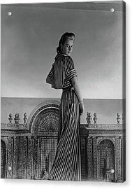 Mademoiselle Guillermo De Blanck In A Satin Dress Acrylic Print by Horst P. Horst
