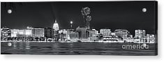 Madison - Wisconsin -  New Years Eve Panorama Black And White Acrylic Print