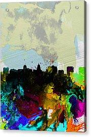 Madison Watercolor Skyline Acrylic Print by Naxart Studio