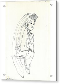 Acrylic Print featuring the drawing Madonna And Child by Don Koester