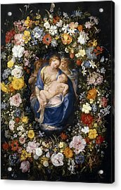 Madonna And Child In A Flower Garland Acrylic Print