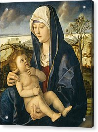 Madonna And Child In A Landscape Acrylic Print by Giovanni Bellini