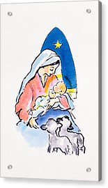 Madonna And Child With Lambs, 1996  Acrylic Print