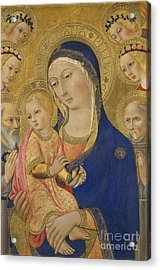 Madonna And Child With Saint Jerome Saint Bernardino And Angels Acrylic Print by Sano di Pietro