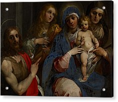 Madonna And Child With Saints John The Baptist With Mary Magdalene And Anne Acrylic Print by Guiseppe Cesari
