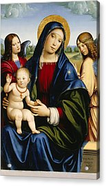 Madonna And Child With Two Angels Acrylic Print by Francesco Francia
