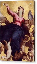 Madonna Carried By Angels Acrylic Print by Palma Il Giovane