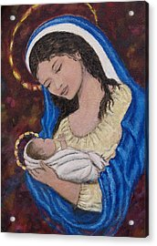 Madonna Of The Burgundy Tapestry - Cropped Acrylic Print