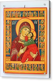 Madonna With Child Jesus Surrounded By Saints Hand Painted Wooden Orthodox Icon Acrylic Print by Denise Clemenco