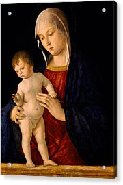 Madonna With The Child Blessing Acrylic Print by Giovanni Bellini