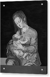 Madonna With The Child Acrylic Print by Miguel Rodriguez