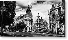 Madrid Metropolis Bw Acrylic Print