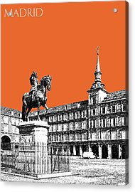 Madrid Skyline Plaza Mayor - Coral Acrylic Print by DB Artist