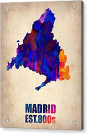 Madrid Watercolor Map Acrylic Print by Naxart Studio
