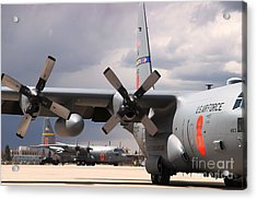 Acrylic Print featuring the photograph Maffs C-130s At Cheyenne by Bill Gabbert