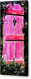 Magenta Painted Door In Garden  Acrylic Print by Asha Carolyn Young and Daniel Furon