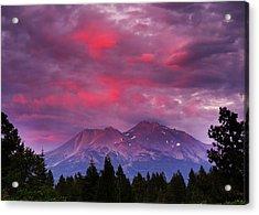 Magenta Sunset Mount Shasta Acrylic Print by Jeff Leland