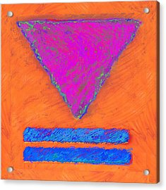 Magenta Triangle On Orange Acrylic Print