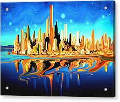 New York Skyline In Blue Orange - Abstract Art Acrylic Print by Art America Gallery Peter Potter