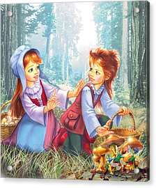Magic Forest Mushrooms Acrylic Print by Zorina Baldescu