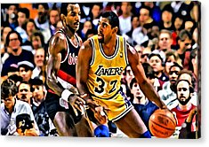 Magic Johnson Vs Clyde Drexler Acrylic Print by Florian Rodarte