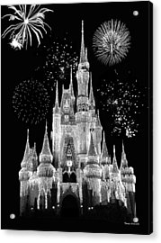 Magic Kingdom Castle In Black And White With Fireworks Walt Disney World Acrylic Print by Thomas Woolworth