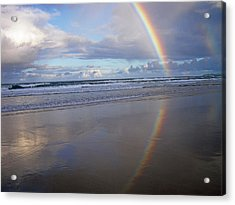 Magic Rainbow Arc Beachscape Acrylic Print