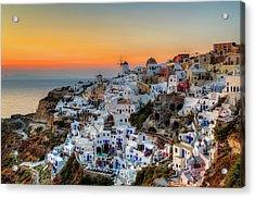 Magic Sunset In Santorini Acrylic Print by George Papapostolou Photographer