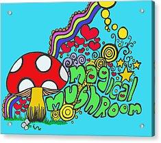 Magical Mushroom Pop Art Acrylic Print by Moya Moon