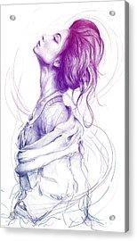 Purple Fashion Illustration Acrylic Print