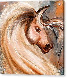 Magnificence- Colorful Horse- White And Brown Paintings Acrylic Print by Lourry Legarde
