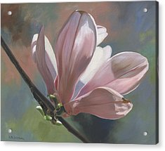 Acrylic Print featuring the painting Magnolia Petals by Alecia Underhill