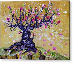 Magnolia Tree Flower Painting Oil On Canvas By Ekaterina Chernova Acrylic Print