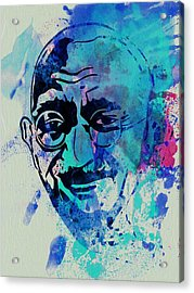 Mahatma Gandhi Watercolor Acrylic Print by Naxart Studio