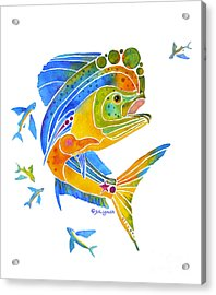 Acrylic Print featuring the painting Mahi Saltwater Fish Art Gifts by Jo Lynch