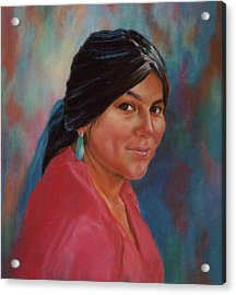 Acrylic Print featuring the painting Maiden From Jemez Pueblo by Ann Peck