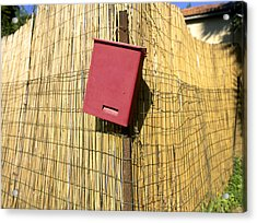 Mail Box On Bamboo Fence Acrylic Print by Daniel Blatt
