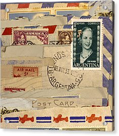 Mail Collage Eva Peron Acrylic Print by Carol Leigh