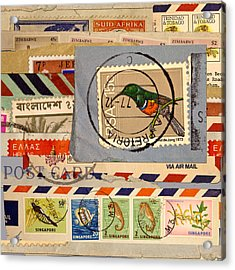 Mail Collage South Africa Acrylic Print by Carol Leigh