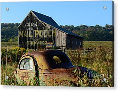 Mail Pouch Barn And Old Cars Acrylic Print by Paul Ward