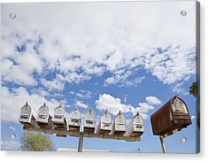 Mailboxes Against Sky Acrylic Print by David Litschel