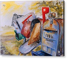Mailboxes In Texas Acrylic Print by Barbara Pommerenke