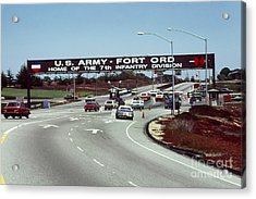 Main Gate 7th Inf. Div Fort Ord Army Base Monterey Calif. 1984 Pat Hathaway Photo Acrylic Print