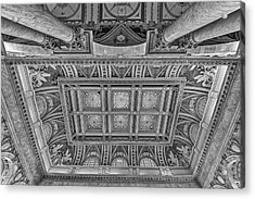 Main Hall Ceiling Library Of Congress Bw Acrylic Print by Susan Candelario