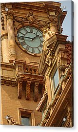 Main St Station Clock Tower Richmond Va Acrylic Print by Suzanne Powers