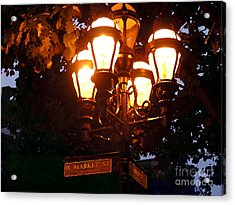 Main Street Gaslights - Abstract Acrylic Print by Jacqueline M Lewis