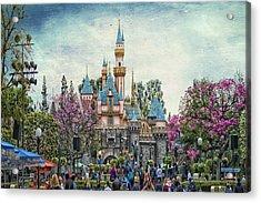 Main Street Sleeping Beauty Castle Disneyland Textured Sky Acrylic Print
