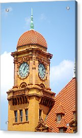 Main Street Station Clock Tower Richmond Va Acrylic Print by Suzanne Powers