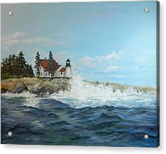 Acrylic Print featuring the painting Maine Lighthouse by Sandra Nardone
