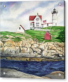 Maine Lighthouse Watercolor Acrylic Print by Michelle Wiarda